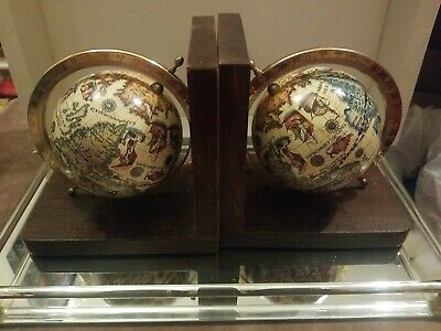 Vintage Globe Old  World Italian  Book Ends On Brown Wood Base  Great Shape