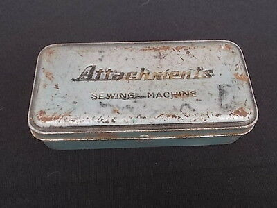 SEWING METAL ACCESSORY METAL BOX w/ various Accessories Vintage Industrial Ware