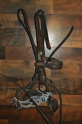 VINTAGE Horse Headstall with Beautiful Horse Glass Concho