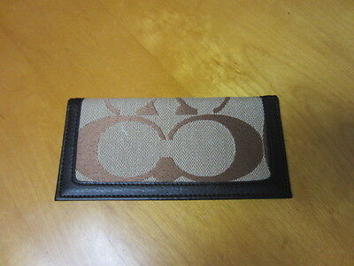Coach Monogram Brown Leather & Canvas Check Book Cover