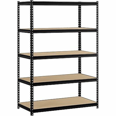 "5-Shelf Steel Shelving Storage Garage 48""W x 24""D x 72""H  Black Muscle Rack NEW"