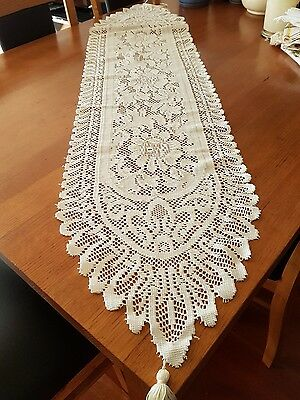Lace table runners with tassels high tea, crochet