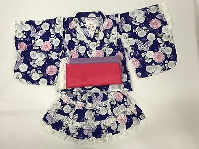 Japanese Kimono Yukata Dress Set-up Navy Floral print with Obi Ribbons 6T NWT