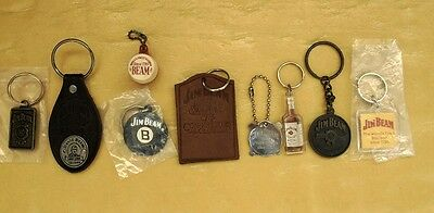 Nine Early Collectable Jim Beam Key Rings 8 Never Used