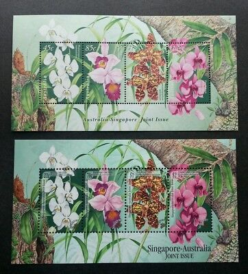 Singapore Australia Joint Issue Native Orchids 1998 Flower Flora (ms pair) MNH