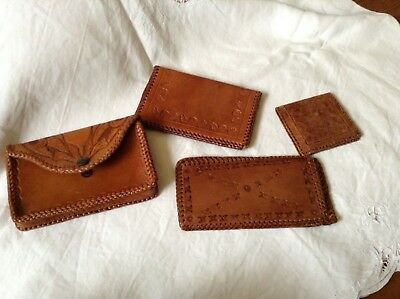 Collection VINTAGE Boho Hippy Brown Leather Tooled Wallets Glass Case Purse