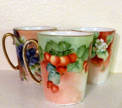 "Set of 3 Limoges Mugs Painted Fruit Hairline Cracks 4"" Gold Handles"