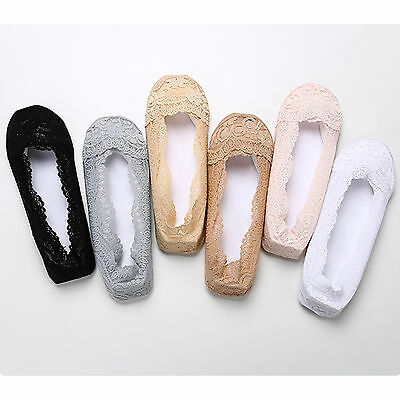 New Womens No Show Low Cut Casual Boat Liner Lace Socks Nonslip 5 10 Pair