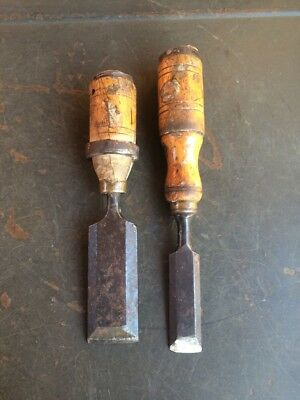 """Two Antique Short Chisels. Brass Ferrules. 1 1/4"""" & 3/4"""" Estate Items"""