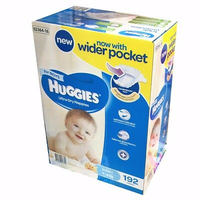 Huggies Ultra Dry Nappies Boy Infant 192 Disposable Size 4-8kg JUMBO PACK