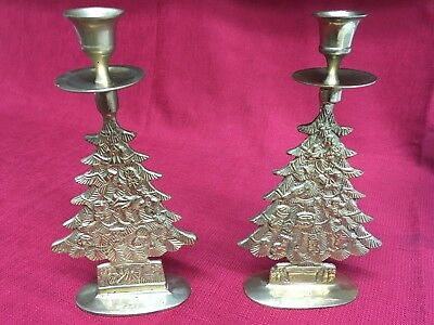 Vintage Brass Christmas Tree Candle Holder.Vintage Brass Christmas Tree 9 1 2 Candle Holder Made In India