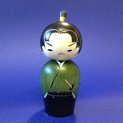 Japan - Wood Kokeshi Doll Waka Samurai Warrior - 13cm Tall - Hand Crafted Usabro