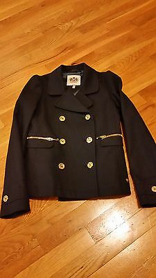 NEW JUICY COUTURE girls navy blazer double breasted jacket wit gold buttons kids