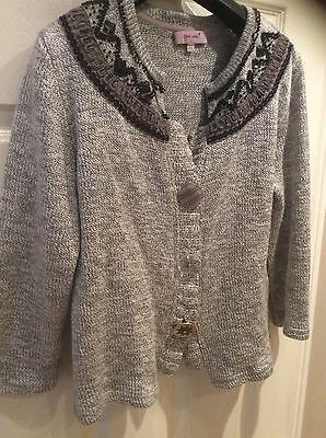 Per Una Grey Knitted Embellished Cardigan Size 10