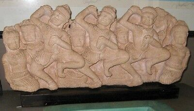 BALI STONE CARVING. Group of Figures. on wooden Plinth.
