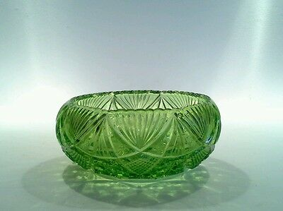 Vintage Elegant Pressed Glass Berry Bowl with Convex Sides and Sawtooth Edge