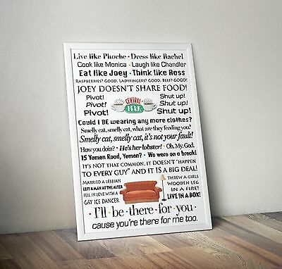 Friends Quote Poster A5 Typography Quotes Ill Be There For