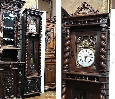 "Beautiful French Grandfather Clock Brittany Carved Case 99"" 1870"
