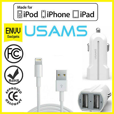 Apple iPhone 7/6s/6/5s In Car SUPER FAST Dual Charger Lighting Charging Cables