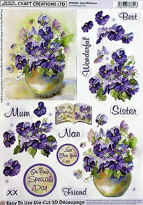 "A4 Die Cut 3D Paper Tole Decoupage ""vase Of Pansies"" Sheet Dcd608"