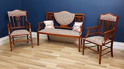 Antique Five Piece Edwardian Settee, Four Chairs and Sofa, Excellent Cond. 1895
