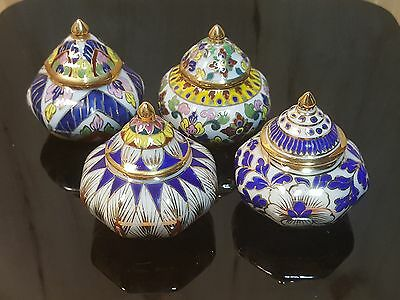 Vtg SET of 4 THAI BENJARONG PORCELAIN Covered JAR ~ Blue Gold Thailand Bowl Pot