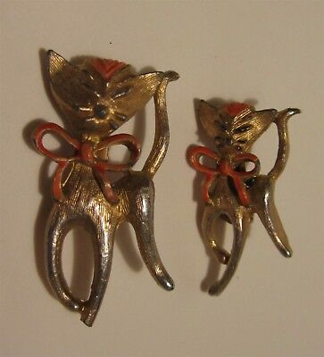Vintage Gerry's Matching Momma Cat & Kitten Brooch Pins Gold-Tone with Pink Bows