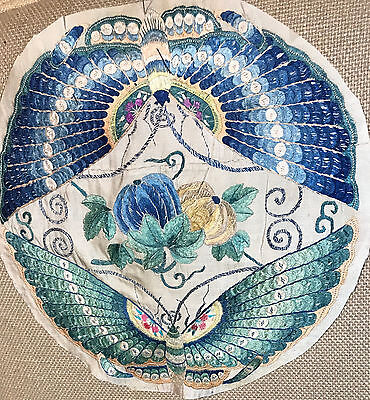 Antique Chinese Embroidered Silk Large Butterfly Robe Roundel
