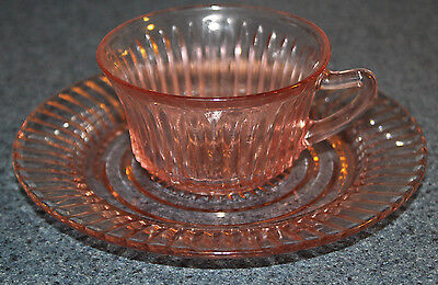Anchor Hocking depression glass Queen Mary pointed handle Cup & Saucer PInk Rib