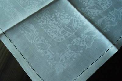 Antique Irish Linen Damask Tea Napkins Lily of Valley Hemstitch NWT
