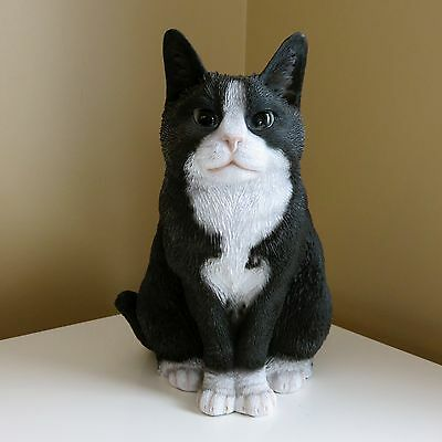 FAT Black White Cat  Figurine Decoration Gift Resin11.5 in. New Kitten Ornament