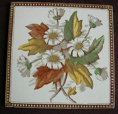"Original Antique Victorian ""FLORAL"" Tile c1880"