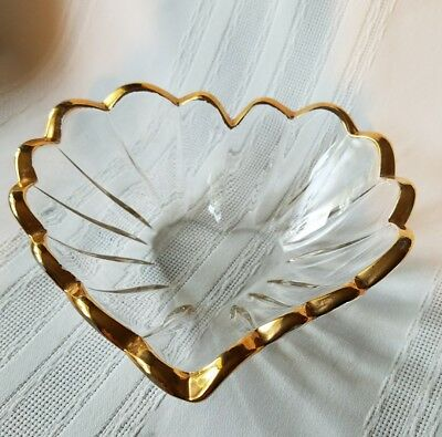 """Vintage Heart-Shaped Crystal Glass Bowl  Gold Rimmed 6"""" Across"""