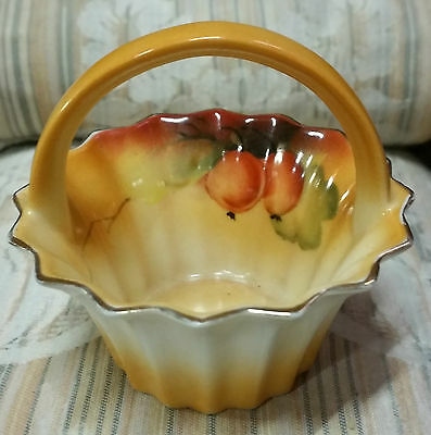 """1933 Vintage Collectible """"small Hand Painted Basket"""" Noritake Made In Japan"""
