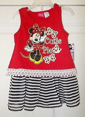 Girls Size 3T OR 4T Disney's Minnie Mouse 2-Piece Outfit Top & Skirt NWT
