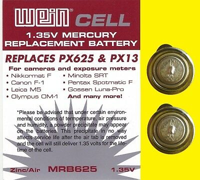 2 x Battery 1,35 V zinc/air  WeinCell MRB 625 - - replaces PX 625 PX13 MR9