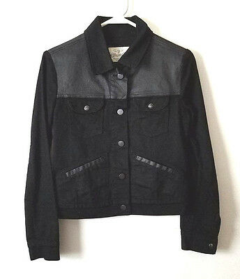 Womens Wrangler Faux Leather Jacket Size S Small Black Authentic Long Sleeve