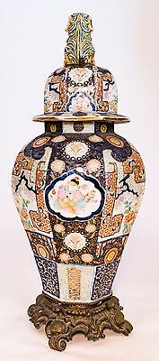 Imari Style Vase Cover, And Brass Base- 19Th-20Th Century, Gold, Blue On White