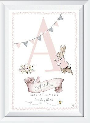 Personalised baby name Peter Rabbit Print gift christening picture nursery LASER