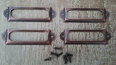 Four Vintage style card index label holders/frames - Copper colour