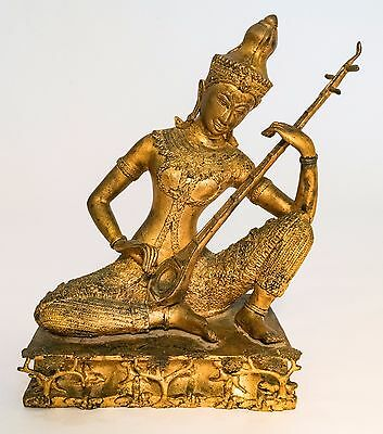 "HINDU SAROD PLAYER, GOLD-ON-METAL with 42"" H LUCITE PEDESTAL - 19TH-20TH CENTURY"