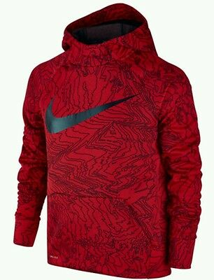 New NIKE Training Boy Size M 10-12 Red Printed Hoodie Pullover Fleece Jacket