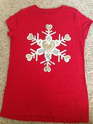 Circo Girls Red White Snowflake T Shirt Size 10/12