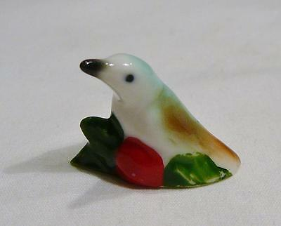 Lovely Little Tropical White, Green And Brown Bird Figurine. Nice!!!