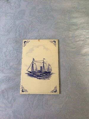 Vintage handpainted blue and white Delft tile