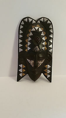 Solid Wood African Mask Black, Silver, Gold, and Metal Made in Ghana