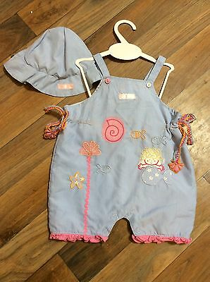 Baby Girls 0-6 Months Dizzy Daisy Sun Romper And Hat Mermaid Embroidery