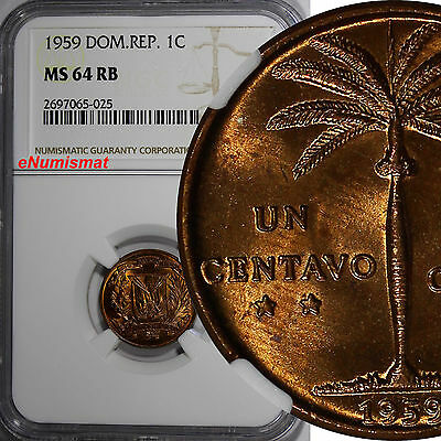 Dominican Republic Bronze 1959 1 Centavo NGC MS64 RB NICE RED TONING KM# 17
