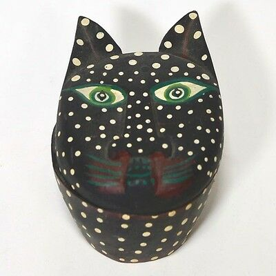 "Vintage Painted Wood Spotted Black Cat Trinket Box Folk Art 4.5"" x 3"" x 2 1/2"""