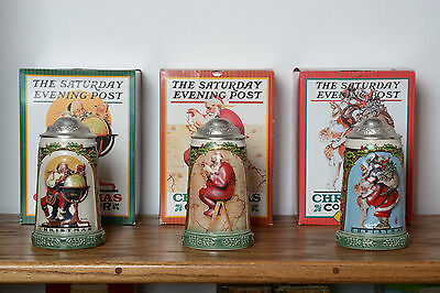 Saturday Evening Post Gerz   Christmas Steins Set of 3 Curtis Publishing Co.